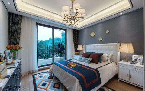 卧室灰色背景墙混搭风格装修图片