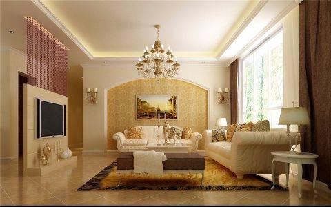 客厅黄色背景墙现代风格装饰设计图片