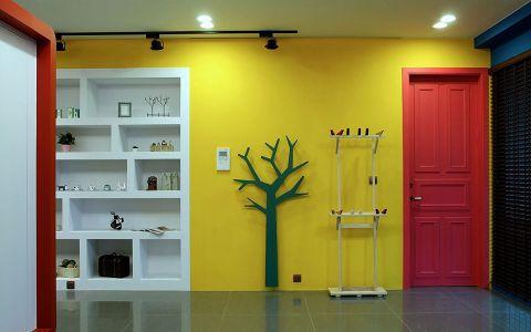 玄关黄色背景墙现代风格装修图片
