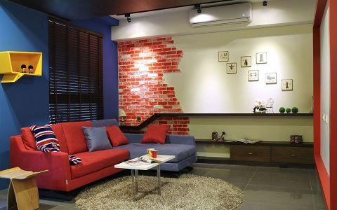 客厅蓝色背景墙现代风格装饰图片
