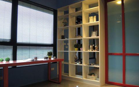 书房黄色博古架现代风格装潢图片
