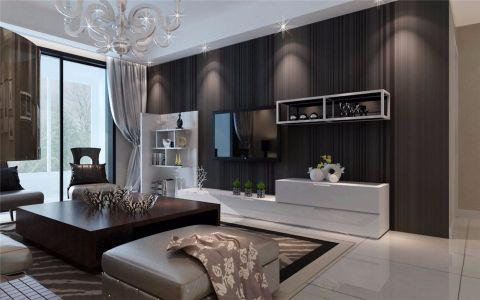 客厅咖啡色背景墙简约风格装潢图片