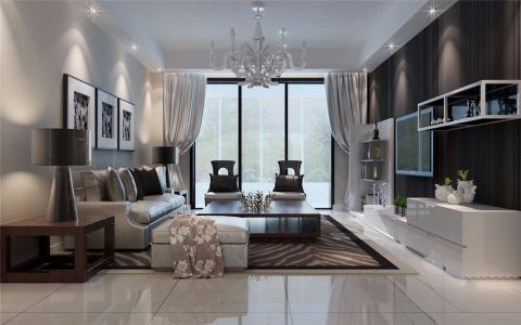 客厅白色窗帘简约风格装修设计图片