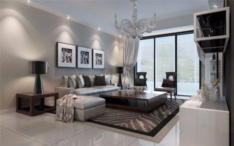 客厅灰色背景墙简约风格装饰设计图片