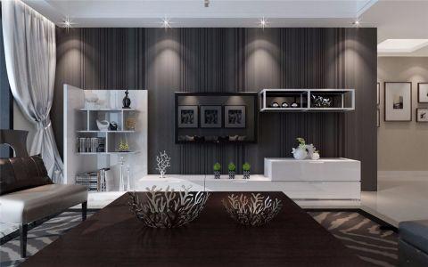 客厅白色电视柜简约风格装潢设计图片