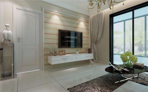 客厅米色背景墙简欧风格装潢设计图片