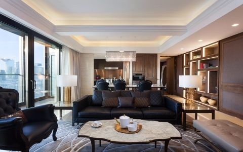 客厅黑色沙发现代简约风格装潢效果图