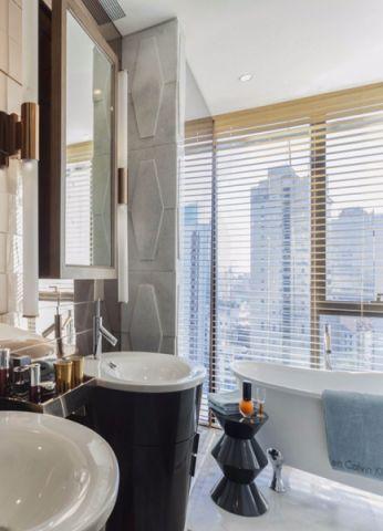 卫生间白色窗帘现代简约风格装修设计图片
