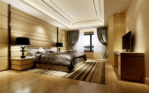 卧室米色吊顶简约风格装潢效果图