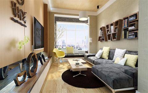 客厅米色背景墙现代风格装潢效果图