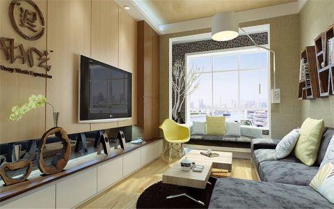 客厅米色茶几现代风格装修图片