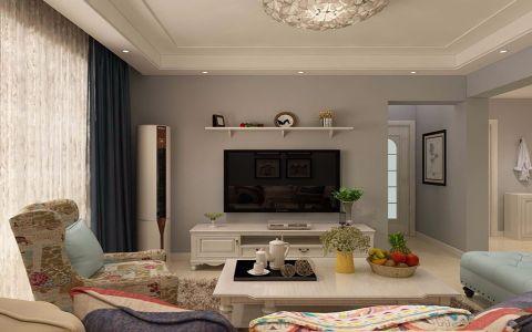 客厅米色背景墙简约风格装潢图片