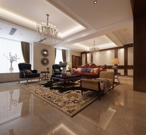 客厅咖啡色窗帘美式风格装饰设计图片