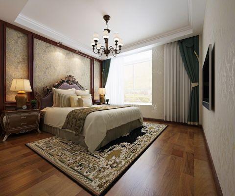 卧室绿色窗帘美式风格效果图