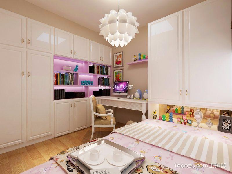 卧室白色书桌现代欧式风格装潢效果图