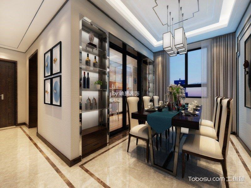 餐厅灰色窗帘新中式风格装潢设计图片