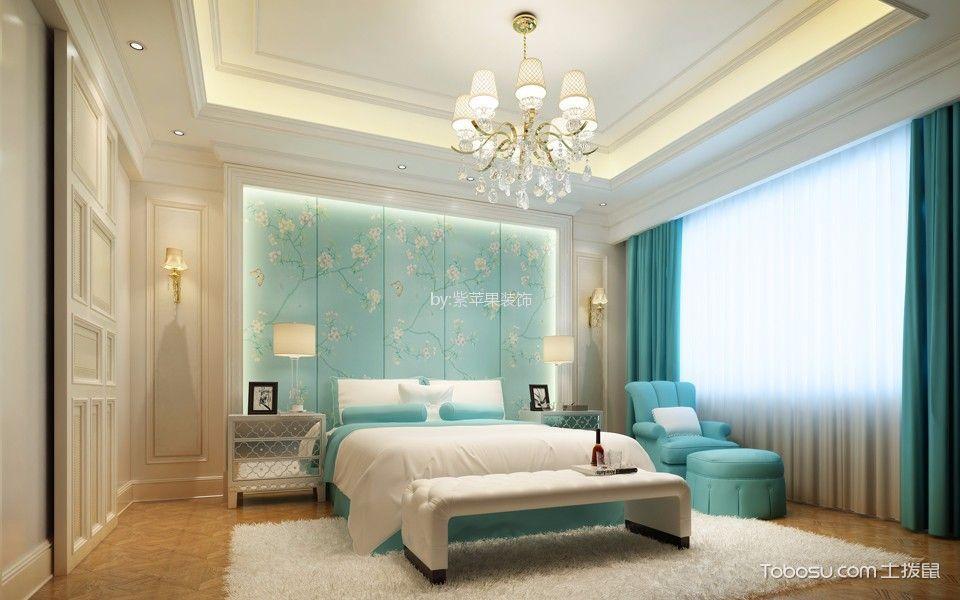 卧室蓝色背景墙简欧风格装修设计图片