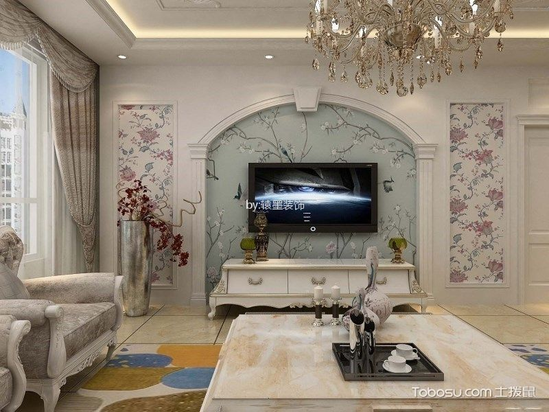 客厅彩色背景墙简欧风格装饰设计图片