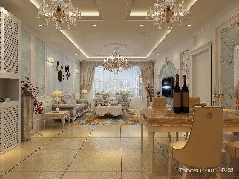 客厅白色吊顶简欧风格装修效果图