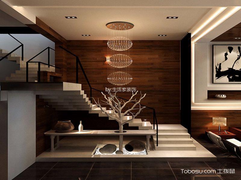 客厅白色楼梯混搭风格装饰图片