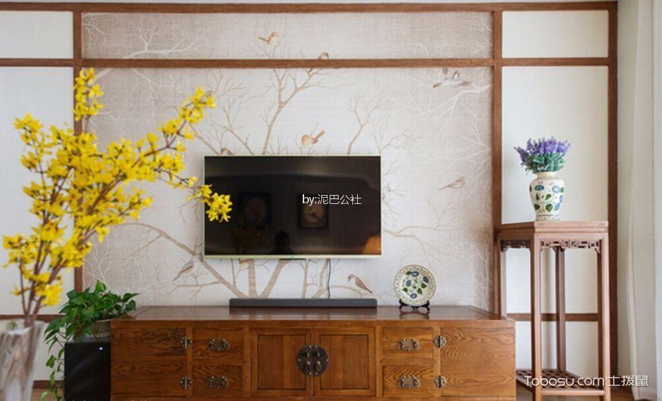 客厅咖啡色电视柜新中式风格装修设计图片