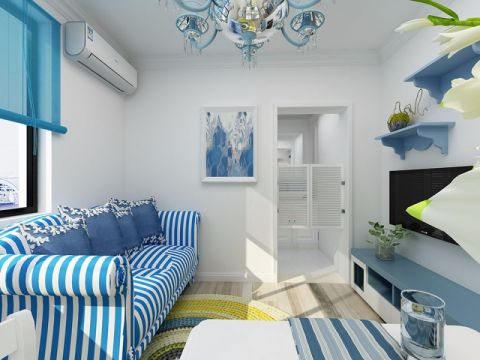 蓝白60平地中海风格小户型效果图