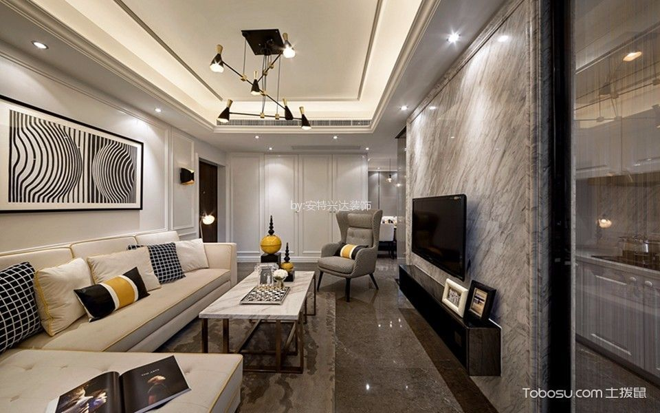 20万预算148平米三室两厅装修效果图