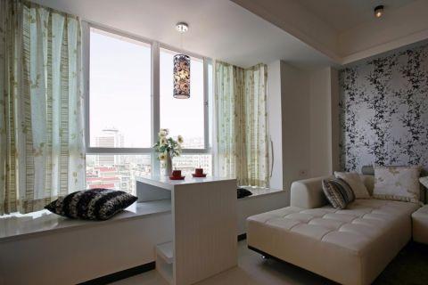 客厅飘窗现代简约风格装潢设计图片