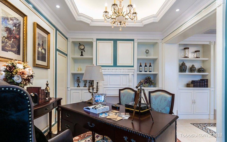 书房咖啡色书桌法式风格装潢效果图