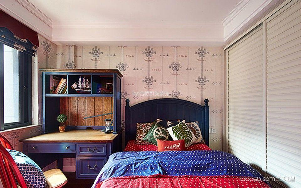 儿童房白色衣柜美式风格装修设计图片