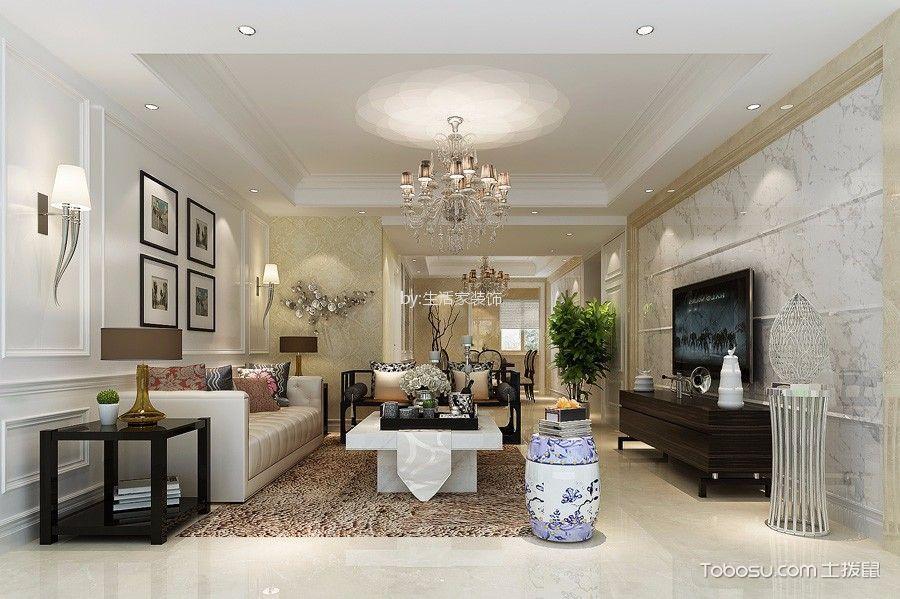 曲院风荷-150简欧风格三居室户型装修效果案例