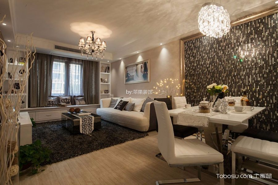 客厅白色飘窗混搭风格装饰效果图
