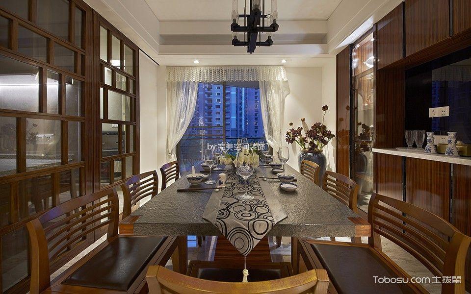 餐厅白色窗帘新中式风格装潢效果图
