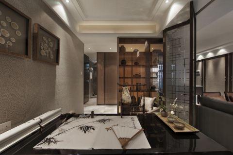 书房背景墙新中式风格装饰图片