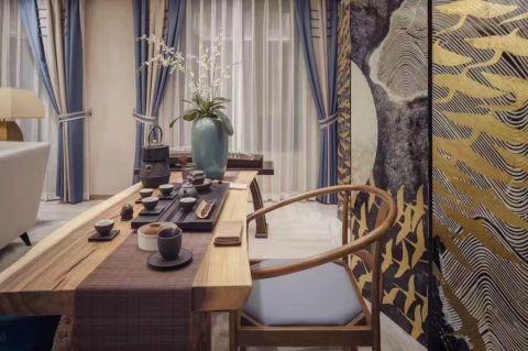 餐厅窗帘中式风格装修设计图片