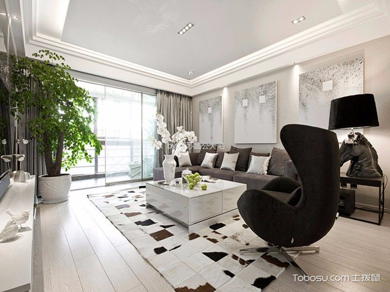 现代简约三居室效果图