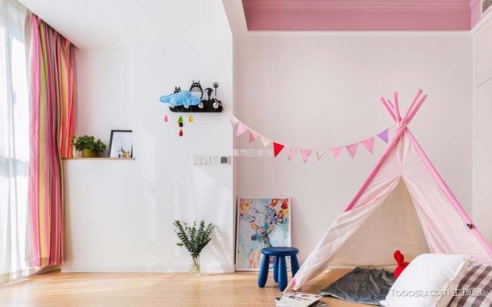 儿童房粉色窗帘混搭风格装修图片