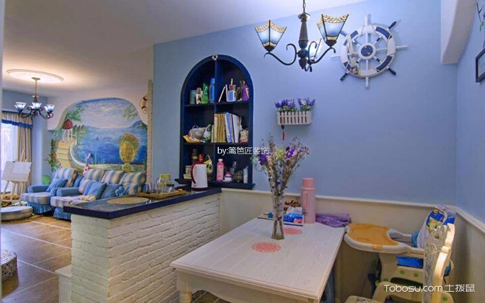 餐厅 背景墙_75平二居室地中海风格装修效果图