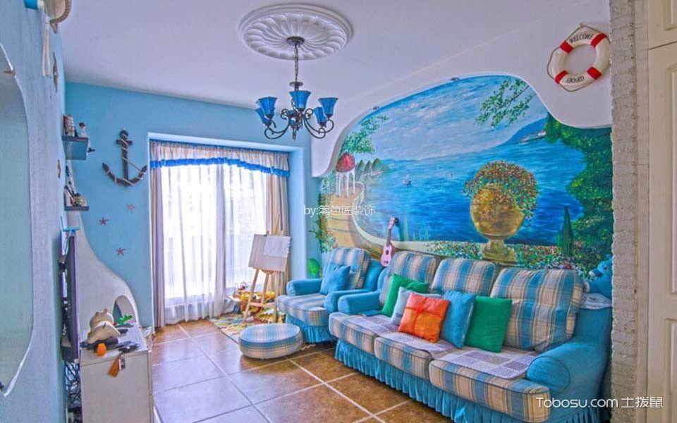 客厅 吊顶_75平二居室地中海风格装修效果图