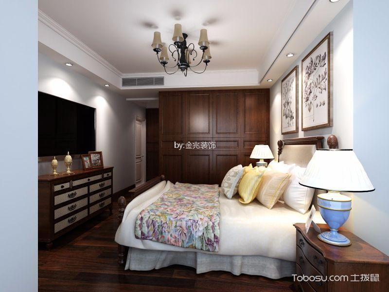 卧室咖啡色电视柜美式风格装修图片