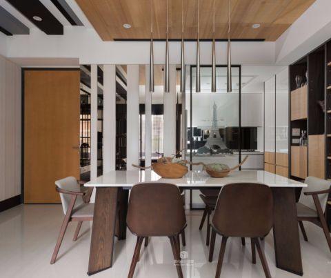 餐厅木格栅吊顶现代简约装修案例