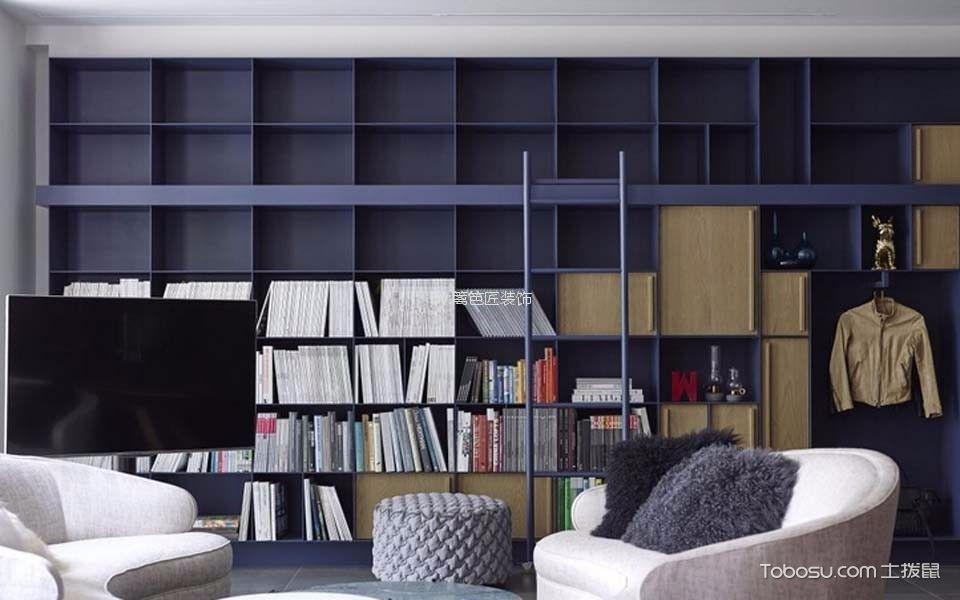 客厅蓝色书架现代风格装修图片