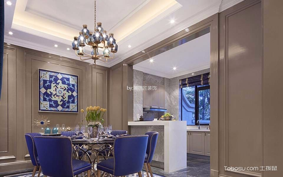 餐厅白色吧台简欧风格装修设计图片
