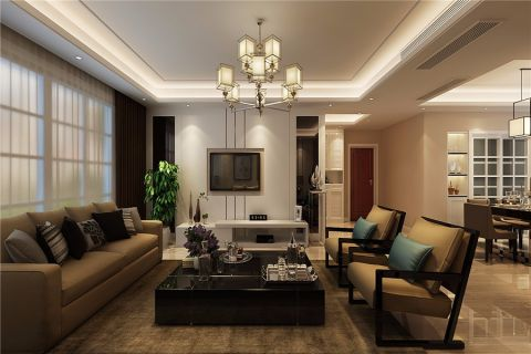 9.2万预算117平米三室两厅装修效果图