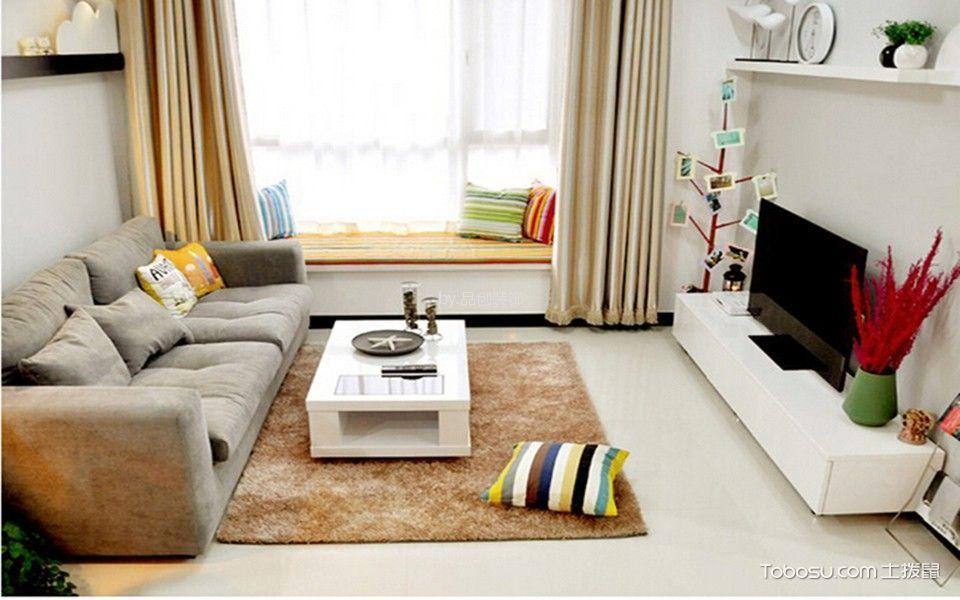 客厅白色飘窗混搭风格装潢设计图片