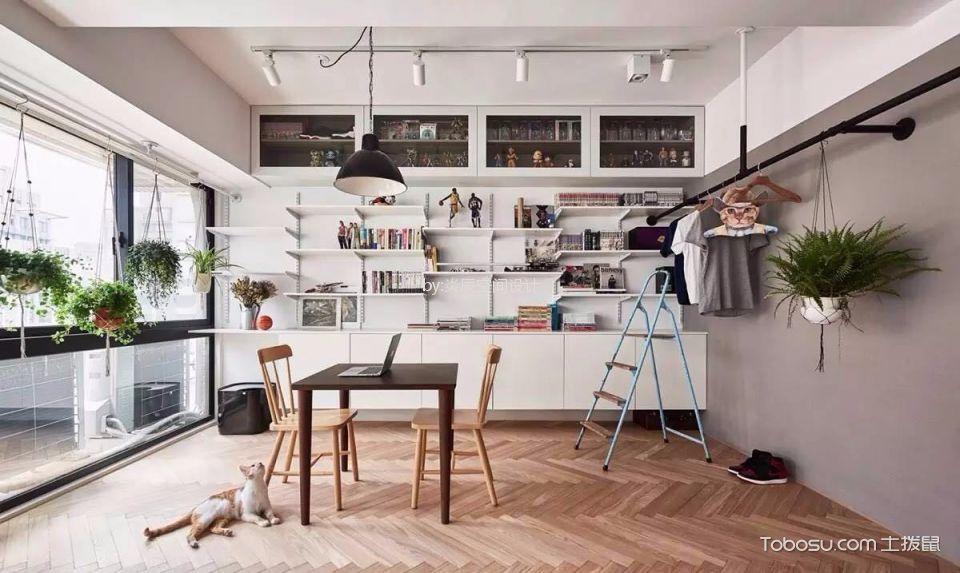 客厅白色书架简约风格效果图