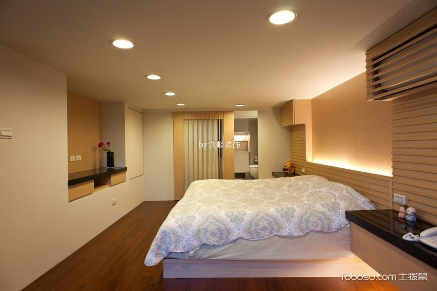 卧室米色背景墙日式风格装饰设计图片