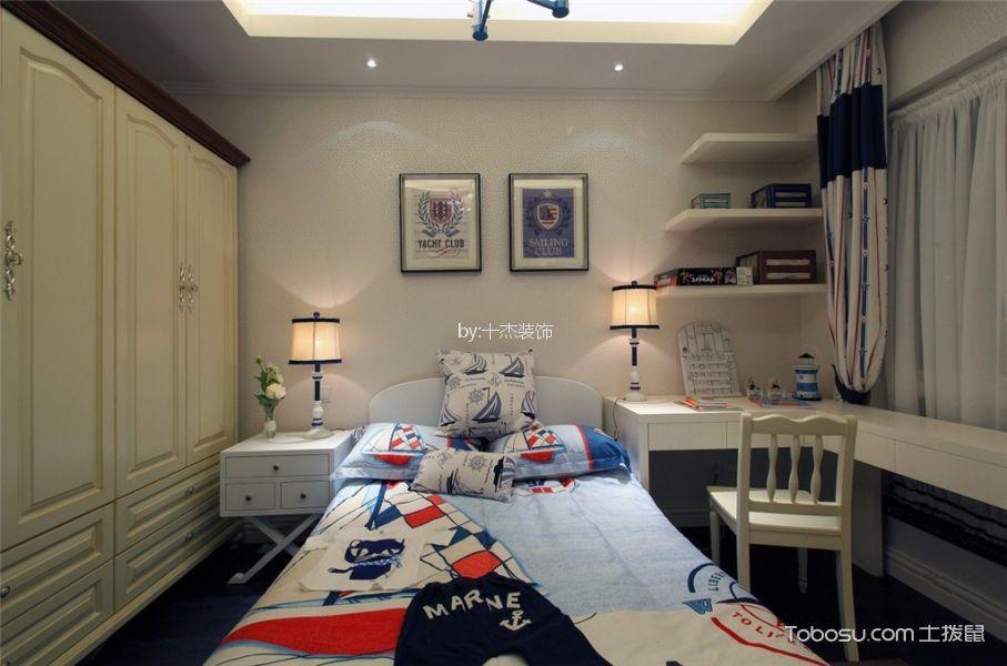 卧室白色书桌地中海风格装潢效果图