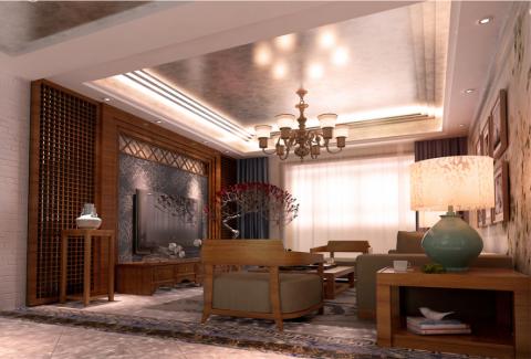 海河大观145平现代中式风格三居室装修效果图