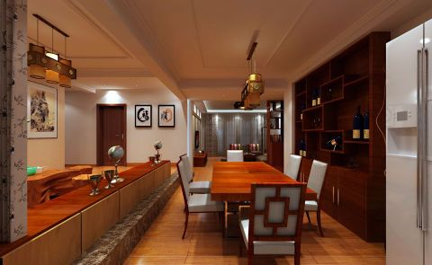 餐厅吊顶中式风格装修设计图片